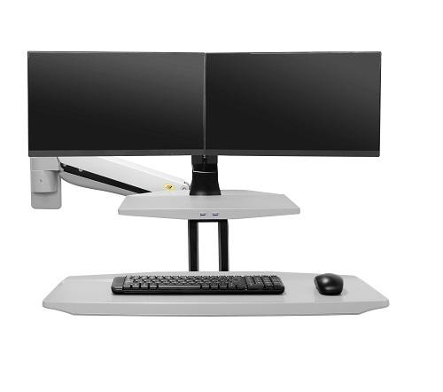YG-MC552AW זרוע ישיבה עמידה חיבור לקיר ל-2 מסכים, מקלדת ועכבר, בצבע לבן